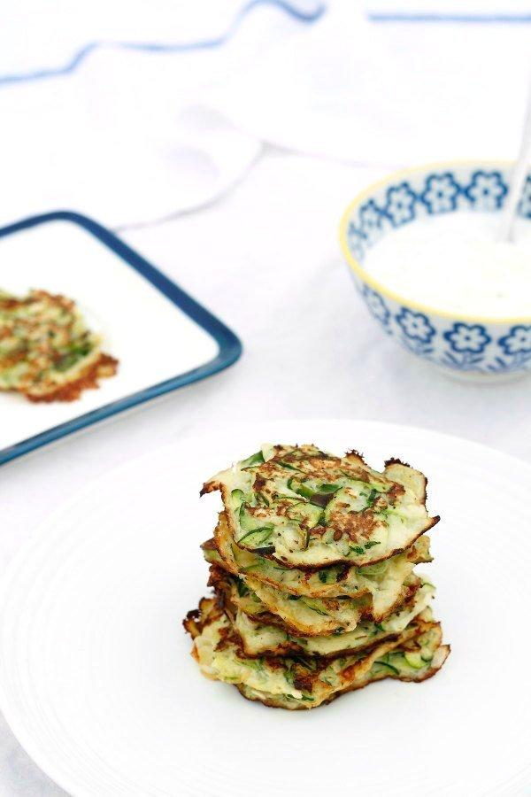Zucchini Scallion Pancakes with Cucumber Yogurt Dip Super Nummy